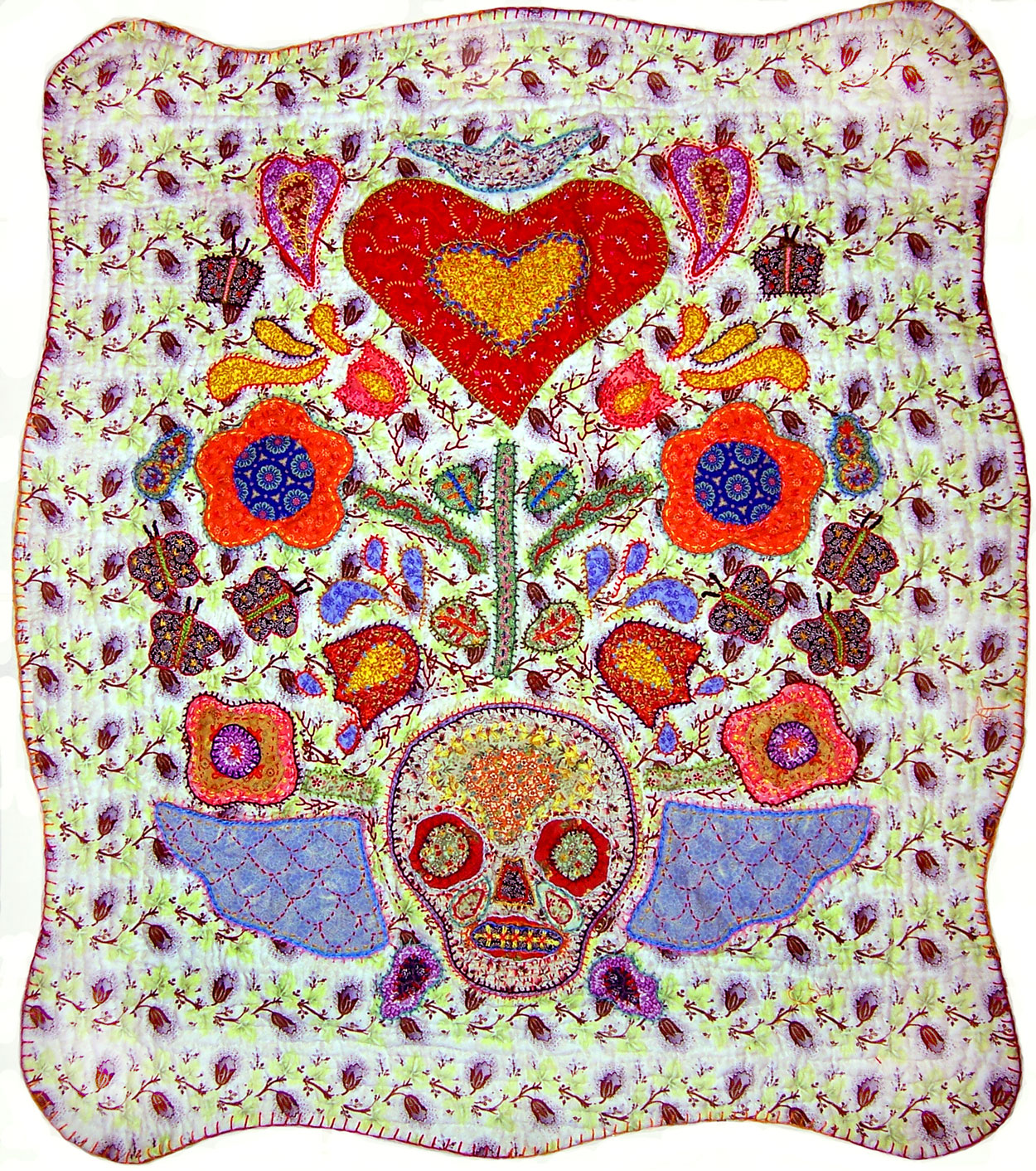 Skull and Heart Quilt