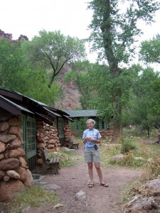 Amy and cabins at Phantom Ranch.