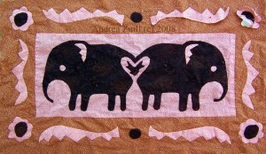 Two Elephant Quilt by Andrea Zuill