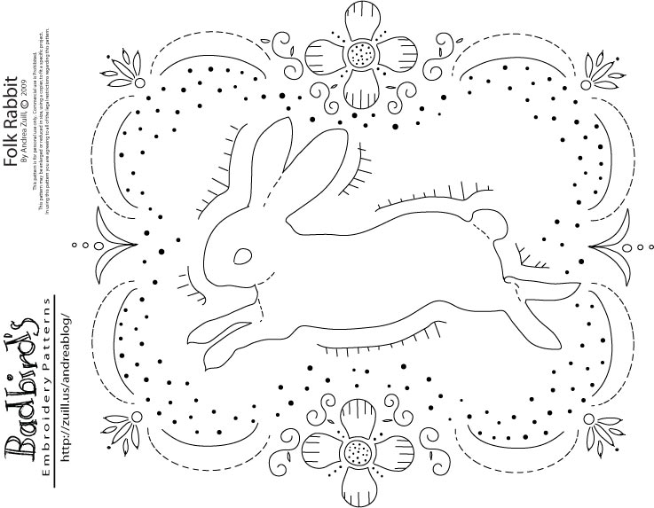 Folk Rabbit, embroidery pattern by Andrea Zuill