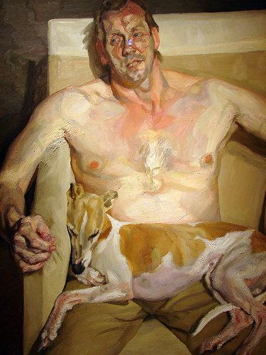Lucian Freud Painting Girl With A White Dog